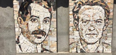 Художник постави портрети на Яворов и Вапцаров на оградата си