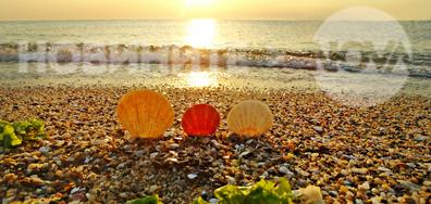 Посрещане изгрева на морския бряг