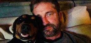 Джерард Бътлър - на снимка с българка и кучето му в София (СНИМКИ)