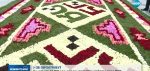 НОВ ЕВРОАТРИБУТ: Килим от 14 000 рози украси пространството пред НДК