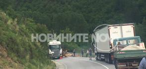 НЕОБЕЗОПАСЕН ТОВАР: Тир изсипа върху кола дървени трупи (ВИДЕО)