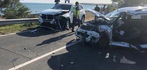 Тежка катастрофа затвори пътя Бургас - Поморие (ВИДЕО+ СНИМКИ)