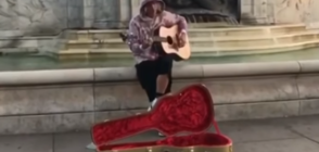 Джъстин Бийбър пя като уличен музикант пред Бъкингамския дворец (ВИДЕО)