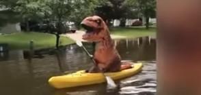 """В САЩ заснеха """"тиранозавър"""" да кара каяк (ВИДЕО)"""