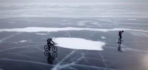 СЪСТЕЗАНИЕ: Десетки караха колело и кънки върху замръзналото езеро Байкал (ВИДЕО)
