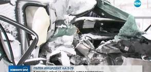 Джип се удари в камион на главен път Е-79 (ВИДЕО)