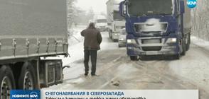 СЕВЕРОЗАПАДЪТ ПОД ПРЕСПИ: Закъсали камиони и тежка зимна обстановка