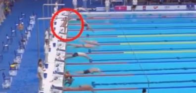 Плувец остана на старта в знак на почит към жертвите в Барселона (ВИДЕО)