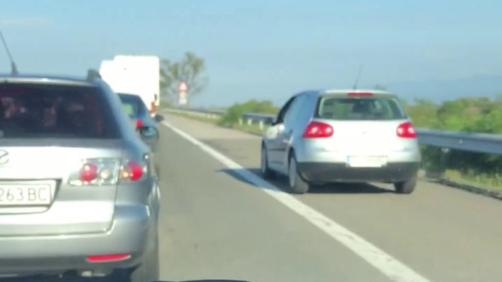 """Шофиране в аварийната лента при задръстване на магистрала """"Тракия"""""""