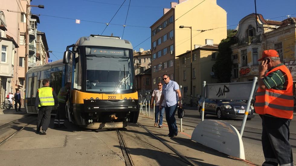 "Трамвай дерайлира на столичния булевард ""Скобелев"""